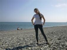 Абхазия, пляж Чёрного моря, Пицунда, Лдзаа.