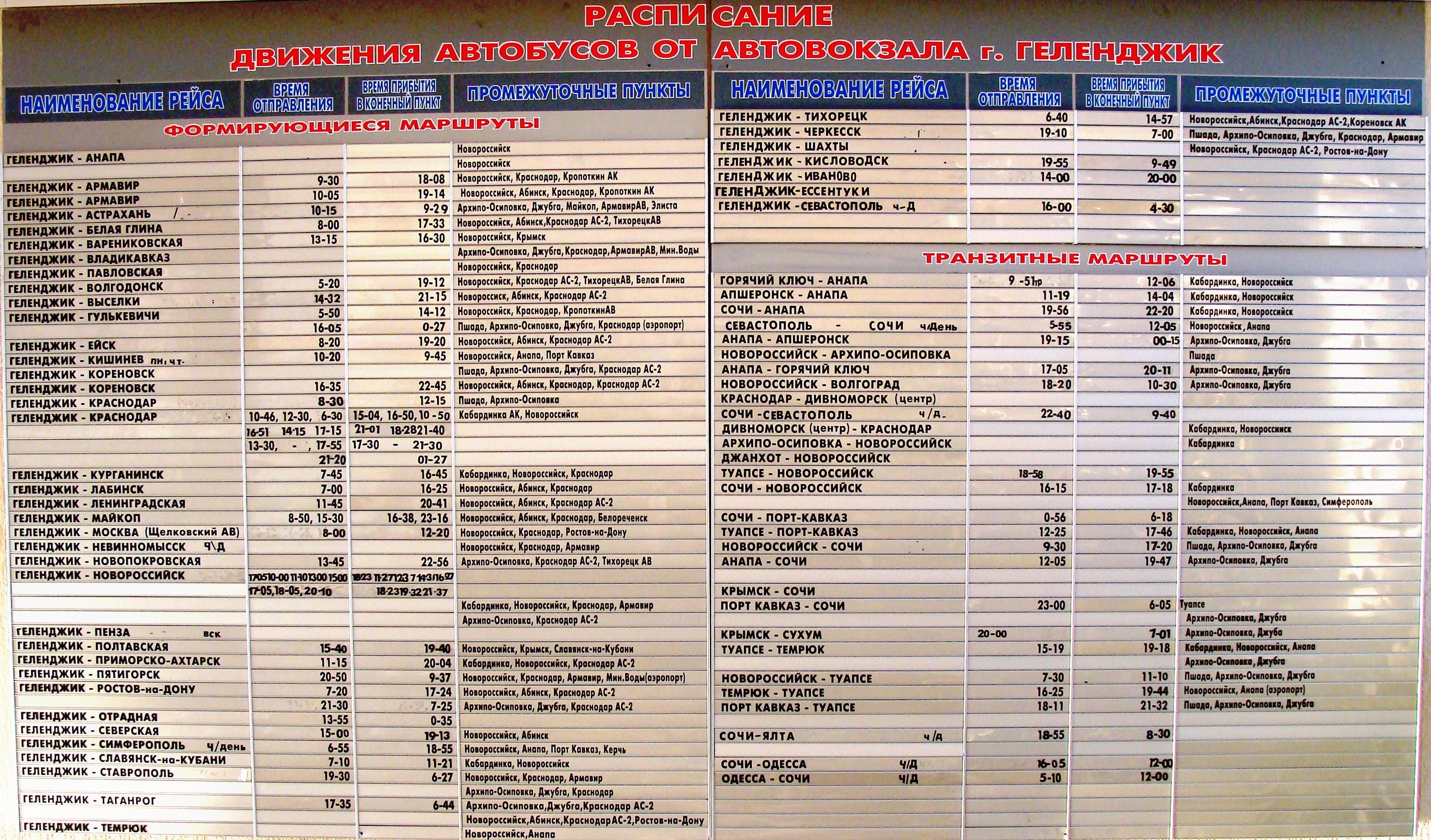 расписание автобусов анапа геленджик 2016 цена билета возникают