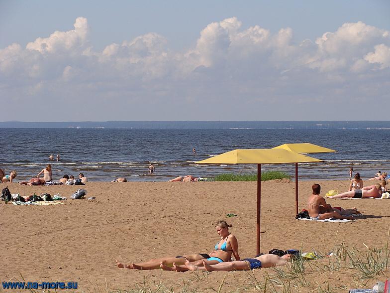 Пляж Сестрорецка летом.