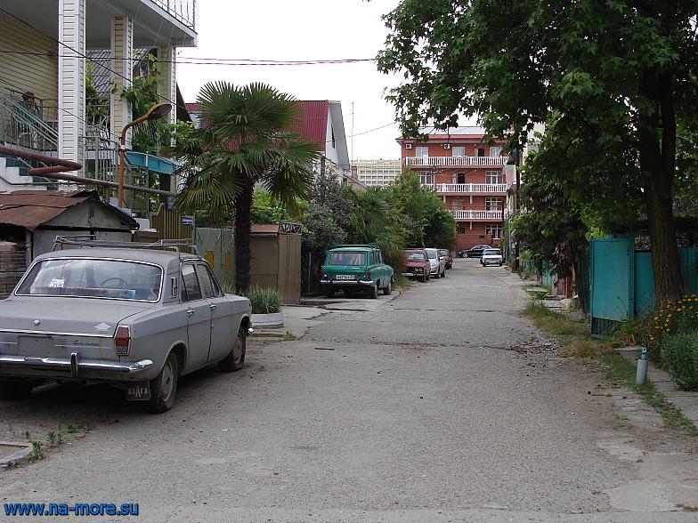 В районе частной застройки рядом с курортным городком Адлера на улице Дзержинского.