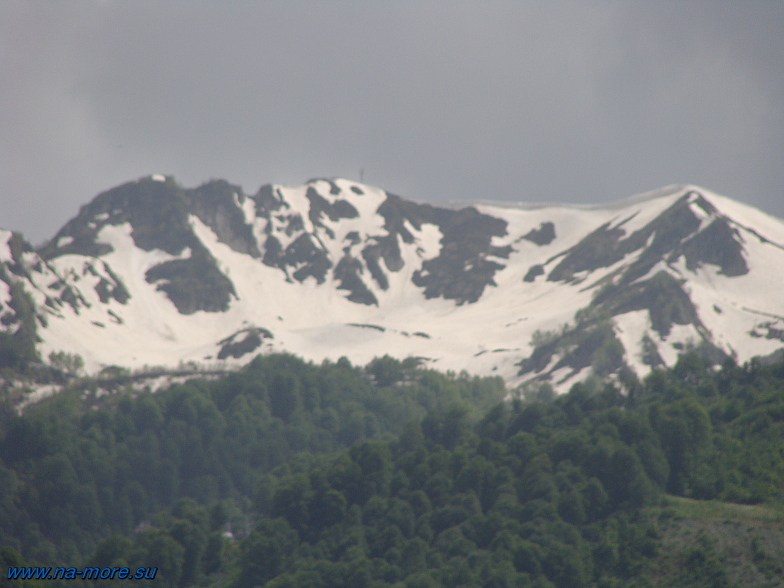 Красная Поляна. Заснеженные вершины гор.