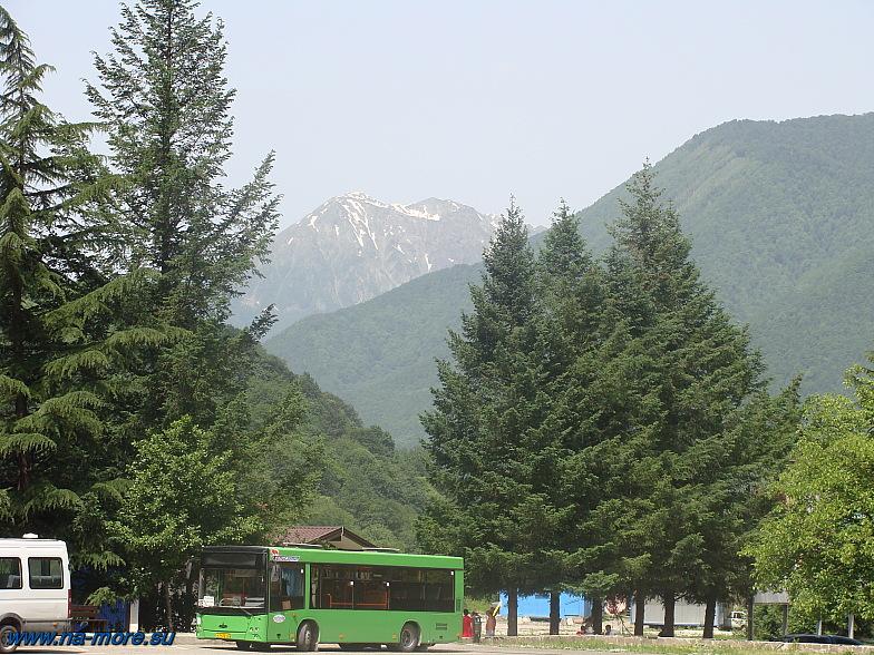 Эсто-Садок. Около подъёмника Альпика-Сервис. Снежные вершины Кавказа.