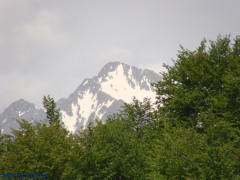 Горные вершины главного Кавказского хребта.