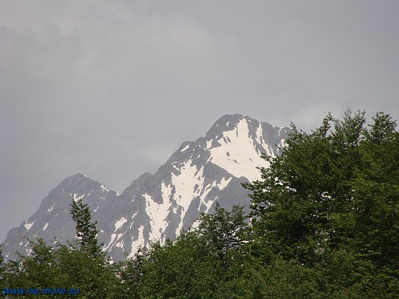 Заснеженные вершины гор Кавказа в Красной Поляне.