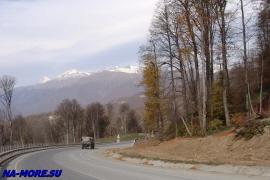 Новое шоссе на хребет Аибга к олимпийским объектам