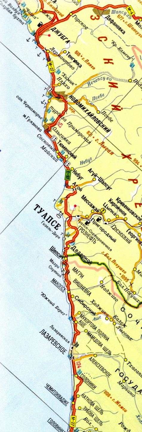 Карта побережья Туапсинского