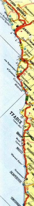 Карта побережья Туапсинского района